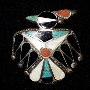 Outstanding Zuni Inlaid Thunderbird Brooch